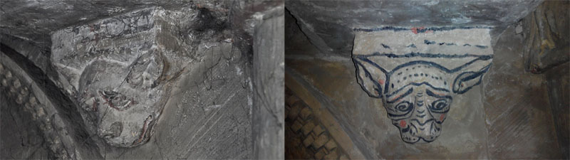 Antes y después de la restauración de una de las ménsulas de la iglesia de la Trinidad en Segovia