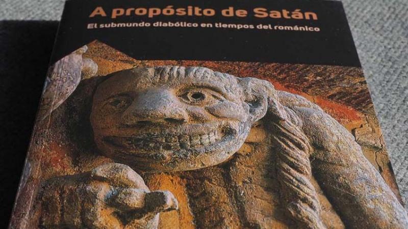 """Detalle de la portada del nuevo libro """"A propósito de Satán. El submundo diábolico en tiempos del románico"""""""