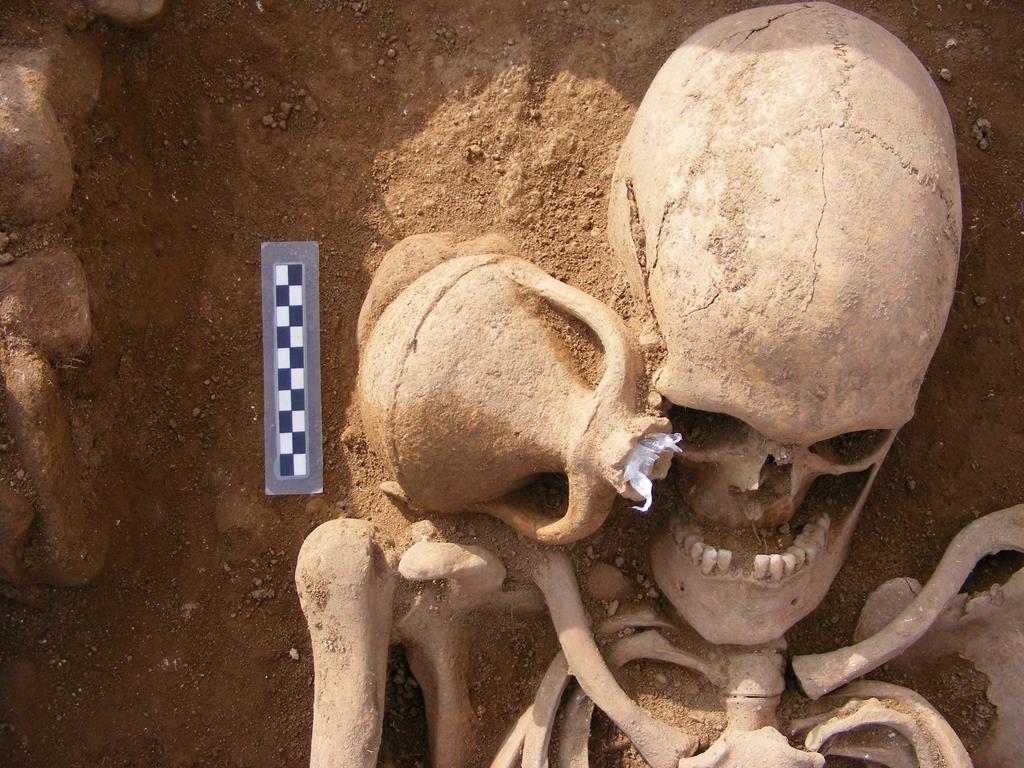 Restos hallados durante la excavación en basílica paleocristiana de Mirialba