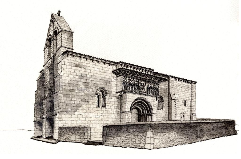 Dibujo de la iglesia de Moarves de Ojeda (Palencia), Juan Carlos Prieto