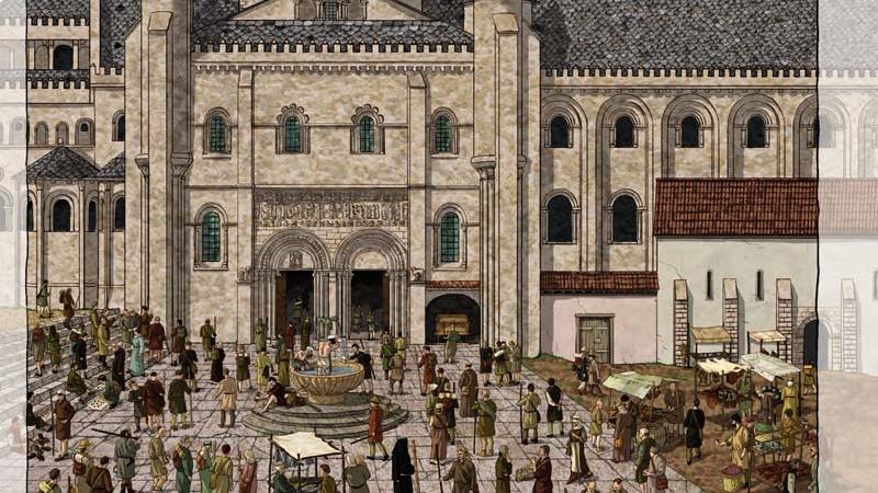 Peregrinar a Compostela, fachada norte catedral de Santiago en la Edad Media